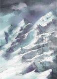 Het landschapskunstwerk van de olieverfschilderij abstract stijl op canvas Stock Afbeelding