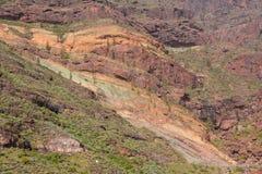 Het landschapslos Azulejos van Gran Canaria vulkanische kleurrijke rotsen hydromagmatic uitbarstingen royalty-vrije stock foto