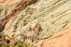 Het landschapslos Azulejos van Gran Canaria vulkanische kleurrijke rotsen hydromagmatic uitbarstingen royalty-vrije stock afbeelding