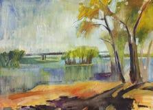 Het landschapsolieverfschilderij van de herfst Stock Afbeelding