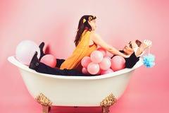 Het lang duren van luxueus bad r Schoonheids routine en persoonlijke hygi?ne haar royalty-vrije stock foto
