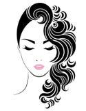 Het lange pictogram van de haarstijl, het gezicht van embleemvrouwen Stock Foto