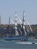 Het lange schip van Sagres in rivier Tagus Stock Afbeelding