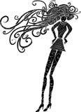 Het lange silhouet van de haarvrouw Stock Foto's