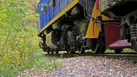 Het lange trein lopen snel op spoorweg op mooie de herfst bos Langzame motie 3840x2160 stock videobeelden