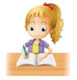Het langharige meisje schrijven Stock Afbeelding