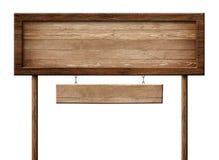 Het langwerpige houten dubbel voorziet met polen en gemaakt van natuurlijk hout en met donker kader van wegwijzers stock afbeeldingen