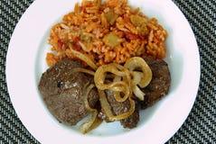 Het lapje vlees en de rijst van het hertevlees Stock Foto's