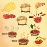 Het Lapje vlees hoe te Cook Watercolor Illustration van de rundvleestong Royalty-vrije Stock Fotografie