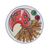 Het lapje vlees van de vissenzalm met bestek blauwe lijnen royalty-vrije stock afbeelding