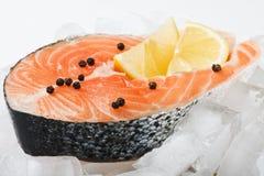 Het lapje vlees van de zalm met plakken van citroen op het ijs Stock Foto