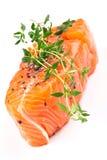 Het lapje vlees van de zalm met thyme royalty-vrije stock foto's