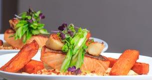 Het lapje vlees van grasfed rump 250g met spaanders en salade Stock Fotografie