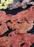Het lapje vleesbarbecue van de flank stock foto