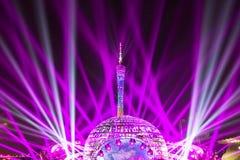 Het laserlicht toont op Guangzhou-stadscentrum royalty-vrije stock afbeeldingen