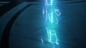 Het laserneon toont prestaties bij partij stock video