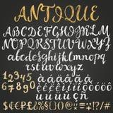 Het Latijnse alfabet van het krijtmanuscript Stock Afbeelding
