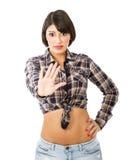 Het Latijnse gebaar van het meisjeseinde royalty-vrije stock afbeelding
