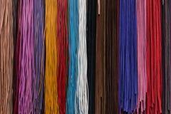Het leer rijgt multicolored, macro Stock Fotografie