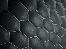 Het leer stikte zeshoek of honecomb zwarte glanzende textuur stock fotografie