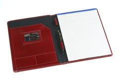 Het leerportefeuille van Bourgondië met blocnote 2 Stock Foto's