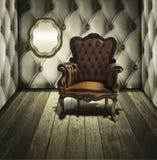 Het leerstoel van de luxe in retro ruimte Royalty-vrije Stock Afbeelding