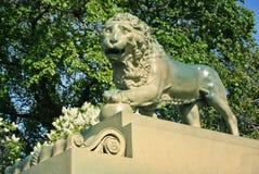 Het Leeuwstandbeeld bij de dijk van Admiraliteit in St. Petersburg, Rusland Stock Fotografie