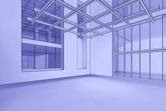 Het lege Binnenland van de Blauwdruk Stock Afbeeldingen