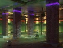 Het lege binnenland van de kelderverdiepingsruimte Concrete vloer, muren van rode baksteen Neonlichten van de ruimte Rioolpijpen  royalty-vrije illustratie