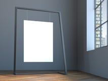 Het lege canvas hangen op de moderne tribune in grijs binnenland Royalty-vrije Stock Afbeeldingen