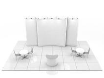 Het lege creatieve ontwerp van de tentoonstellingstribune met kleurenvormen Cabinemalplaatje 3d geef terug Stock Afbeelding
