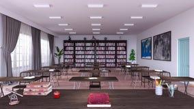 Het lege 3d klaslokaal binnenlandse ontwerp geeft 3d illustratie terug Stock Foto's