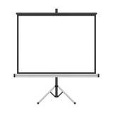 Het lege die projectorscherm met driepoot voor presentatie binnen wordt geïsoleerd Stock Afbeeldingen