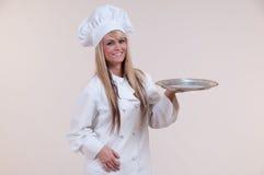 Het Lege Dienblad van de chef-kok Stock Fotografie