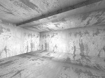 Het lege donkere concrete binnenland van de murenruimte Abstracte Architectuur B Stock Foto