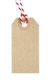 Het lege Etiket van de Kartonmarkering met Rood en Wit Koord stock afbeelding