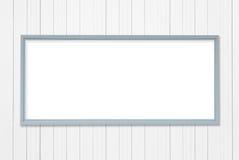 Het lege grijze kader van het metaalaanplakbord op witte muur Royalty-vrije Stock Foto's