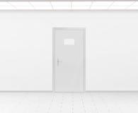 Het lege het ontwerpmodel die van de naamplaat op 3d deur overhandigen, geeft terug Stock Foto