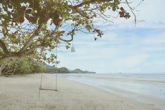 Het lege houten schommeling hangen op takken in zonnige dag dichtbij het strand van koh Chang, golf van Thailand, uitstekende fil Stock Afbeeldingen