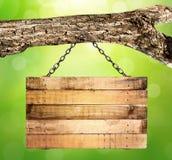 Het lege houten teken hangen Stock Afbeeldingen