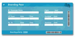 Het lege kaartje van de luchtvaartlijn instapkaart vector illustratie