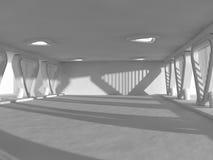 Het lege lichte grote zaal 3D teruggeven Royalty-vrije Stock Foto