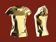 het lege malplaatje van de vrouwent-shirt isoleerde 3d teruggeeft Het eenvormige model van Promomeisjes render Royalty-vrije Stock Fotografie