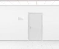Het lege model van het de plaatontwerp van de glasnaam dichtbij 3d deur, geeft terug royalty-vrije illustratie