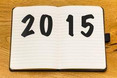 Het lege nieuwe jaar van het pagina'snotitieboekje Stock Fotografie