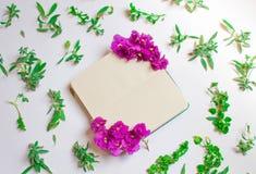 Het lege notitieboekje verfraaide purpere bloemen op een witte achtergrond, hoogste mening Blocnote met groen bladeren en viooltj stock foto