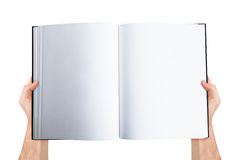 Het Lege Open Boek van de handholding Stock Afbeeldingen