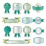 Het lege Premieetiket en beweegt groen en zilveren luxe Royalty-vrije Stock Fotografie