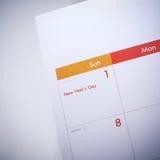Het lege programma van de Desktopkalender van 1 januari 2017 Stock Foto