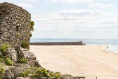 Het lege Strand van Barneville Carteret, Normandië, Frankrijk Stock Foto's